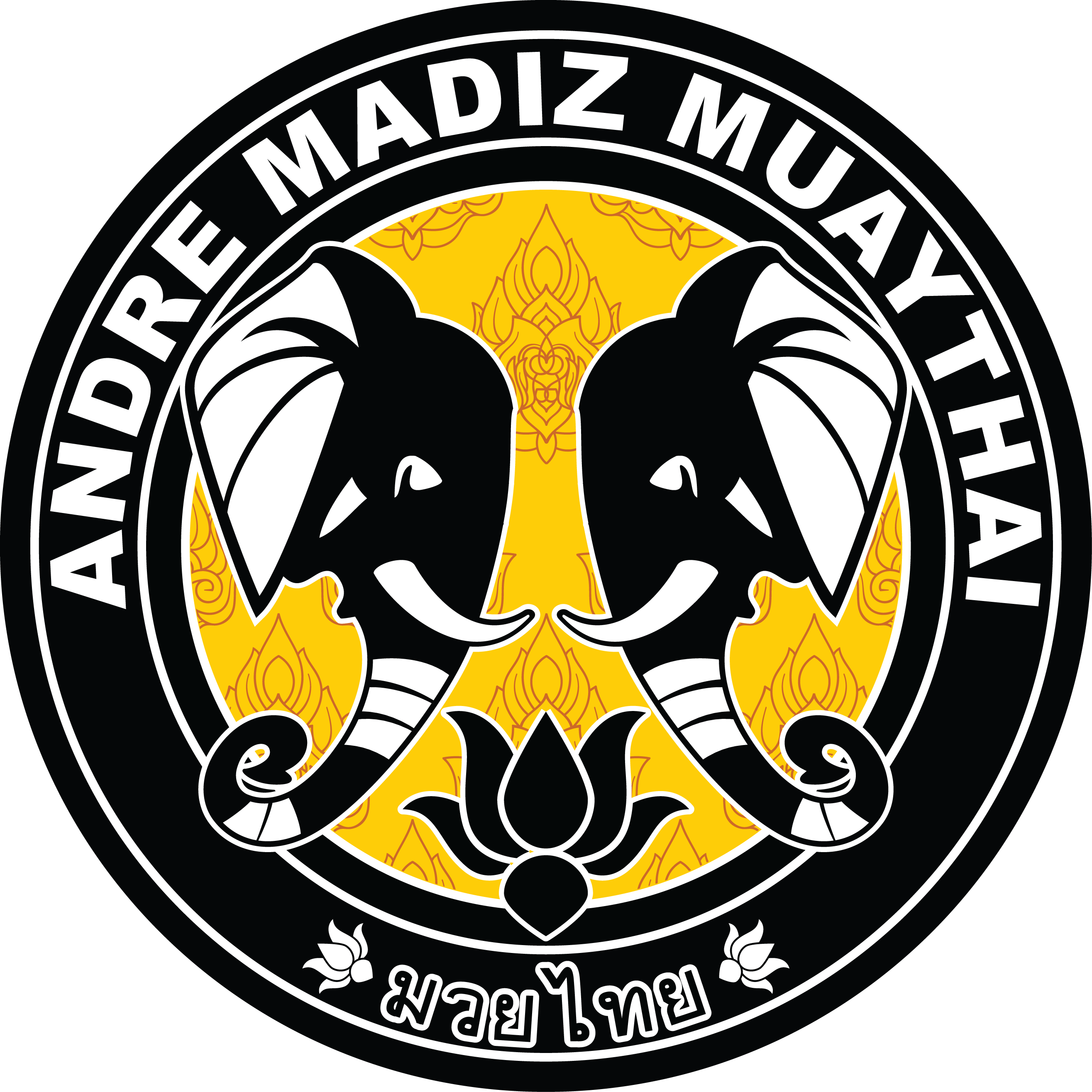 Andre Madiz Logo Featuring Two Elphant Heads Illustration